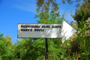 Sign to Marys House Ephesus Turkey
